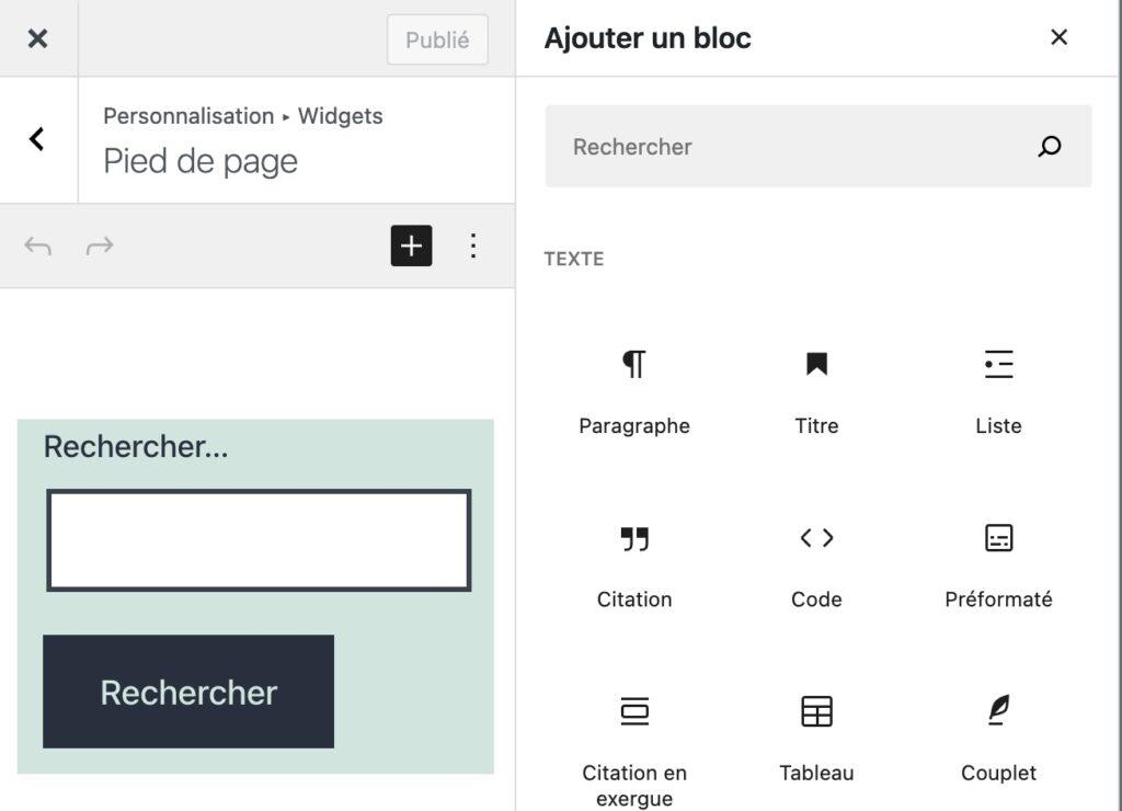 WordPress | block widget